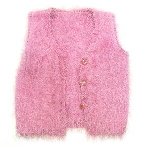 Pink fuzzy vest